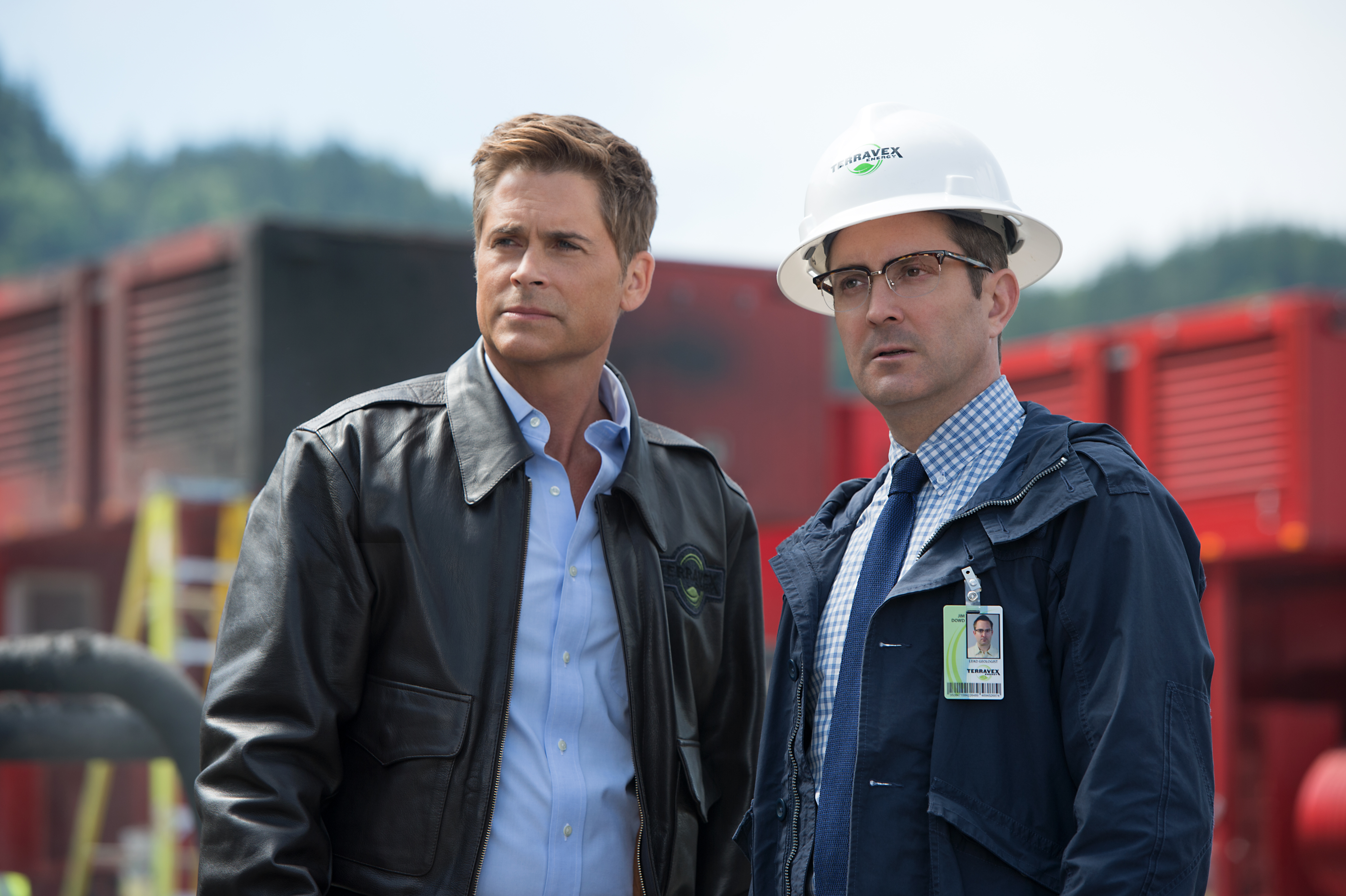 Rob Lowe plays Reece Tenneson and Thomas Lennon plays Jim Dowd in Monster Trucks from Paramount Pictures.